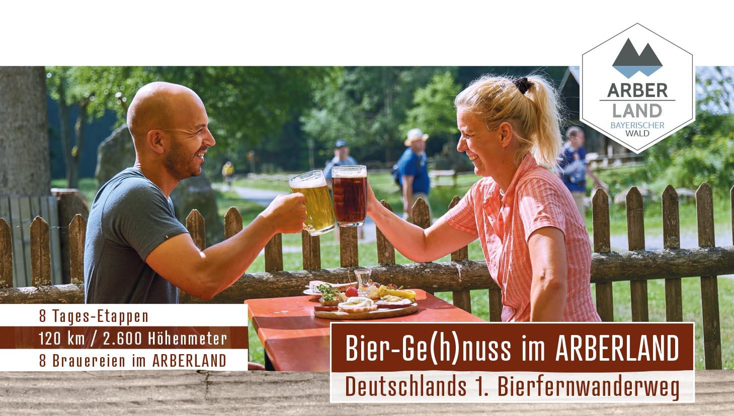 Bier-Ge(h)nuss im ARBERLAND - Deutschlands 1. Bierfernwanderweg. Foto: ARBERLAND REGio GmbH.